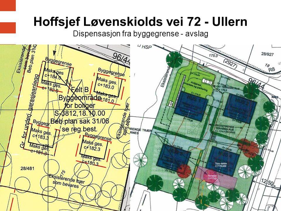 18 Hoffsjef Løvenskiolds vei 72 - Ullern Dispensasjon fra byggegrense - avslag