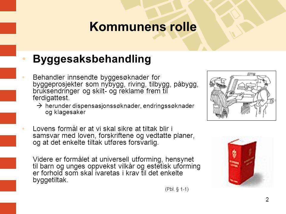 2 Kommunens rolle •Byggesaksbehandling •Behandler innsendte byggesøknader for byggeprosjekter som nybygg, riving, tilbygg, påbygg, bruksendringer og s