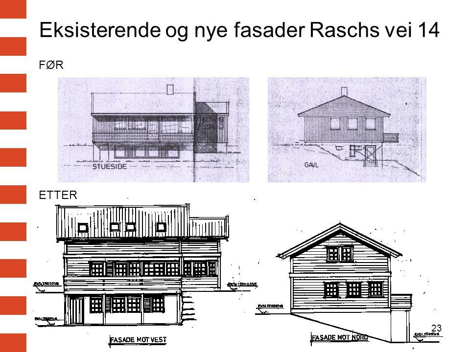 23 Eksisterende og nye fasader Raschs vei 14 FØR ETTER