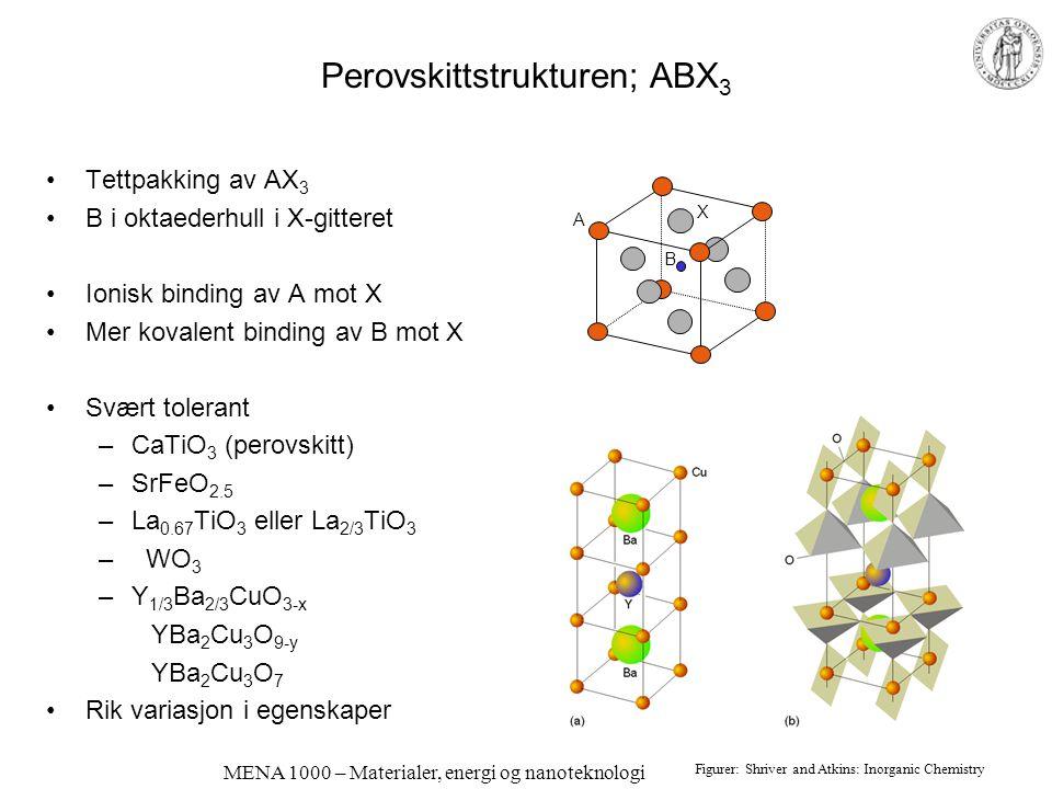 MENA 1000 – Materialer, energi og nanoteknologi Perovskittstrukturen; ABX 3 •Tettpakking av AX 3 •B i oktaederhull i X-gitteret •Ionisk binding av A m