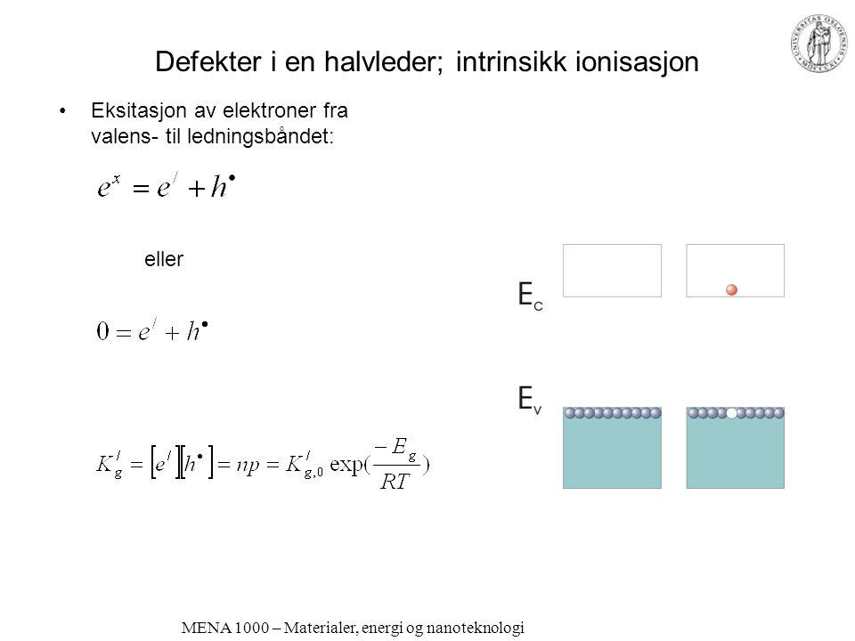 MENA 1000 – Materialer, energi og nanoteknologi Defekter i en halvleder; intrinsikk ionisasjon •Eksitasjon av elektroner fra valens- til ledningsbånde