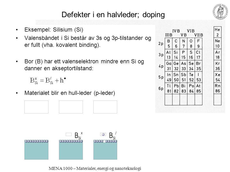 MENA 1000 – Materialer, energi og nanoteknologi Defekter i en halvleder; doping •Eksempel: Silisium (Si) •Valensbåndet i Si består av 3s og 3p-tilstan