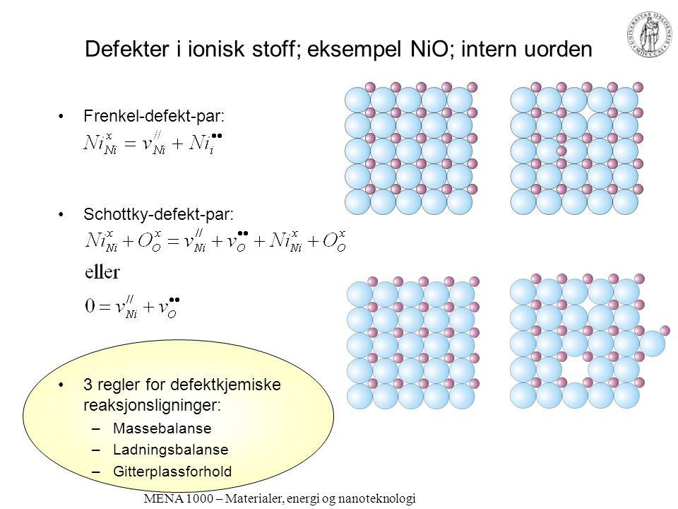 MENA 1000 – Materialer, energi og nanoteknologi Defekter i ionisk stoff; eksempel NiO; intern uorden •Frenkel-defekt-par: •Schottky-defekt-par: •3 reg