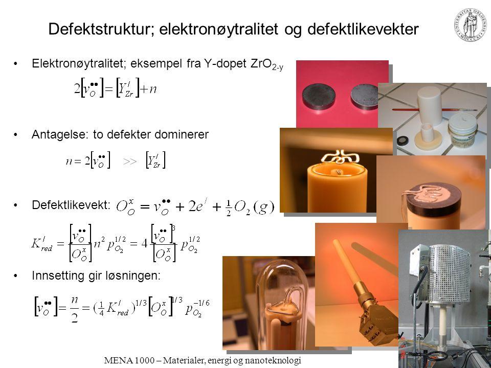 MENA 1000 – Materialer, energi og nanoteknologi Defektstruktur; elektronøytralitet og defektlikevekter •Elektronøytralitet; eksempel fra Y-dopet ZrO 2