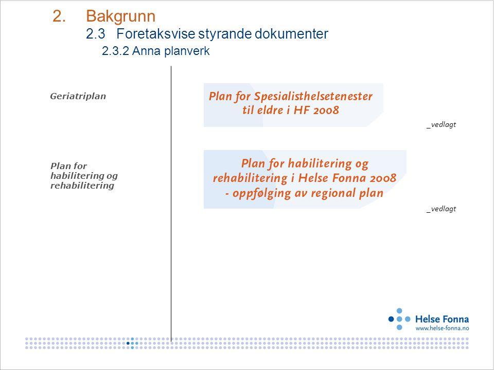 Geriatriplan Plan for habilitering og rehabilitering 2. Bakgrunn 2.3 Foretaksvise styrande dokumenter 2.3.2 Anna planverk _vedlagt