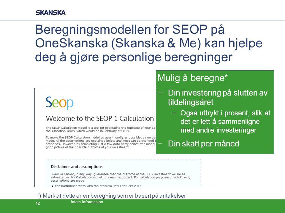 Intern informasjon 12 Beregningsmodellen for SEOP på OneSkanska (Skanska & Me) kan hjelpe deg å gjøre personlige beregninger Mulig å beregne* −Din investering på slutten av tildelingsåret −Også uttrykt i prosent, slik at det er lett å sammenligne med andre investeringer −Din skatt per måned *) Merk at dette er en beregning som er basert på antakelser