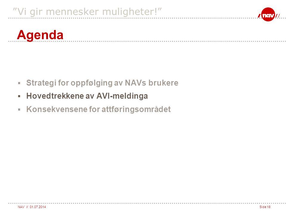 """NAV // 01.07.2014Side 18 """"Vi gir mennesker muligheter!""""  Strategi for oppfølging av NAVs brukere  Hovedtrekkene av AVI-meldinga  Konsekvensene for"""