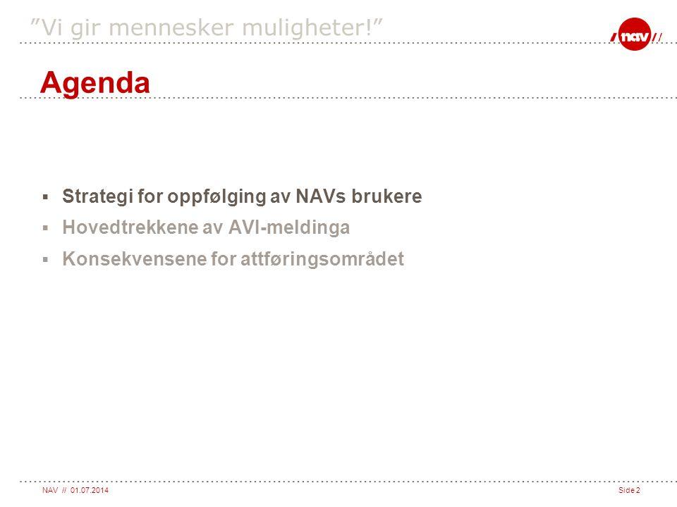 """NAV // 01.07.2014Side 2 """"Vi gir mennesker muligheter!""""  Strategi for oppfølging av NAVs brukere  Hovedtrekkene av AVI-meldinga  Konsekvensene for a"""