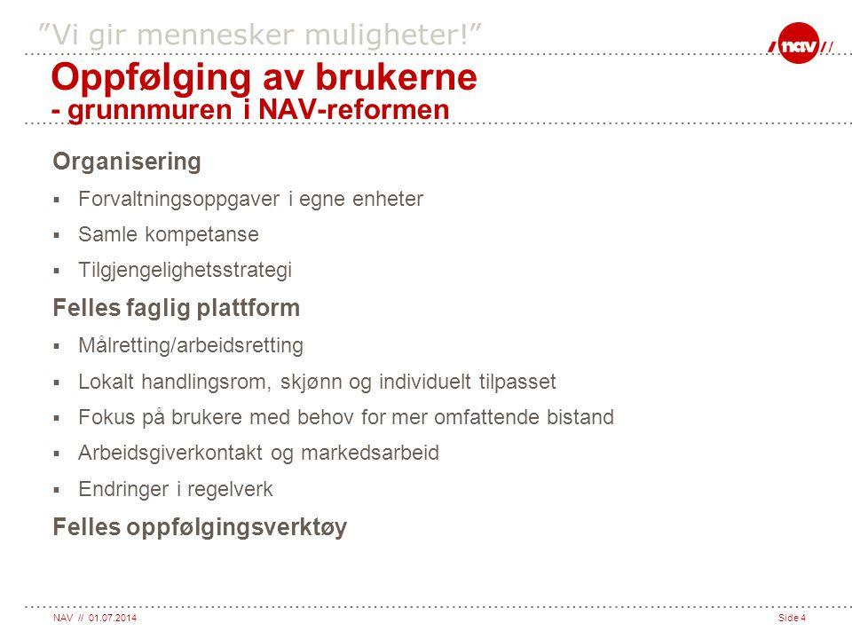 """NAV // 01.07.2014Side 4 """"Vi gir mennesker muligheter!"""" Organisering  Forvaltningsoppgaver i egne enheter  Samle kompetanse  Tilgjengelighetsstrateg"""