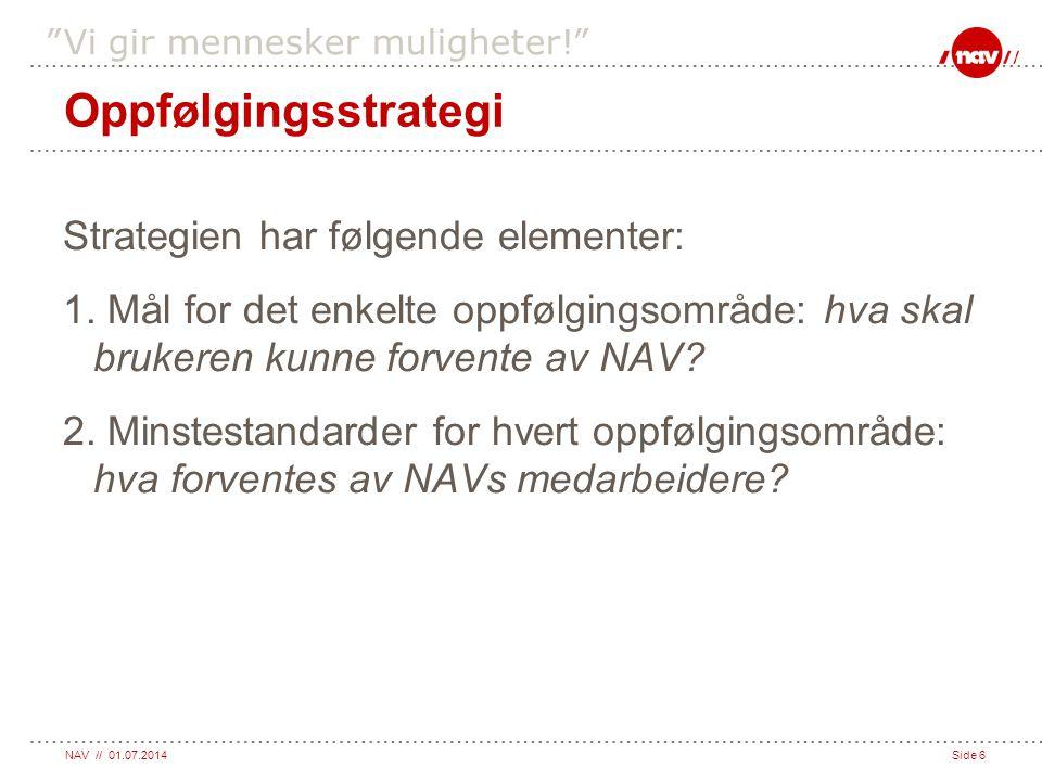 """NAV // 01.07.2014Side 6 """"Vi gir mennesker muligheter!"""" Oppfølgingsstrategi Strategien har følgende elementer: 1. Mål for det enkelte oppfølgingsområde"""
