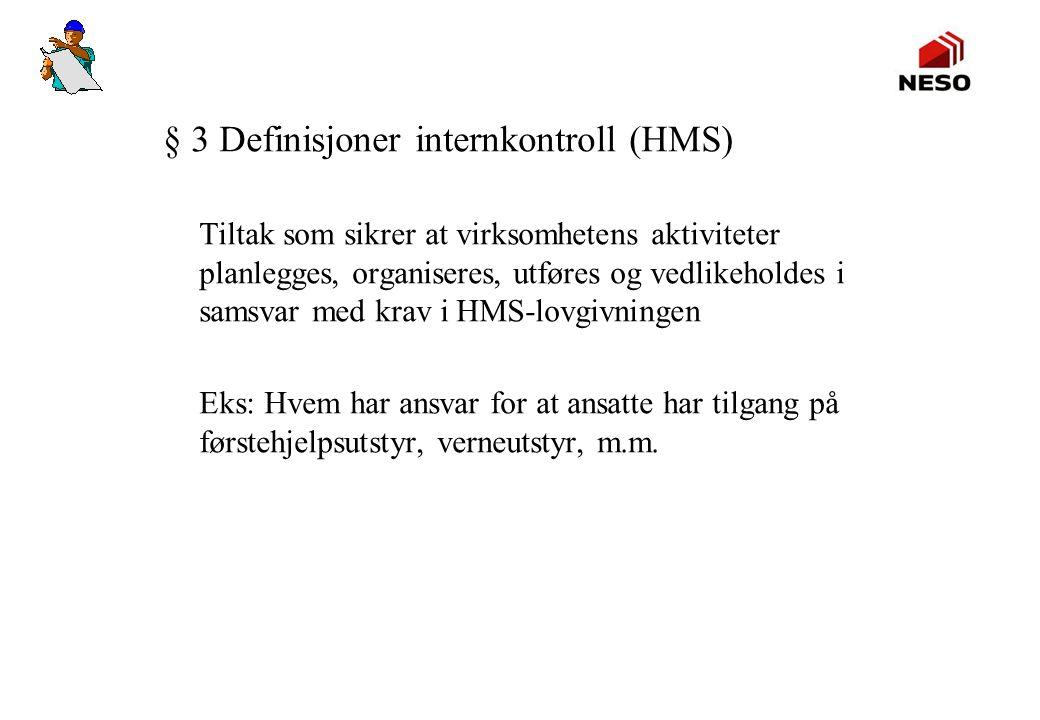 § 3 Definisjoner internkontroll (HMS) Tiltak som sikrer at virksomhetens aktiviteter planlegges, organiseres, utføres og vedlikeholdes i samsvar med k