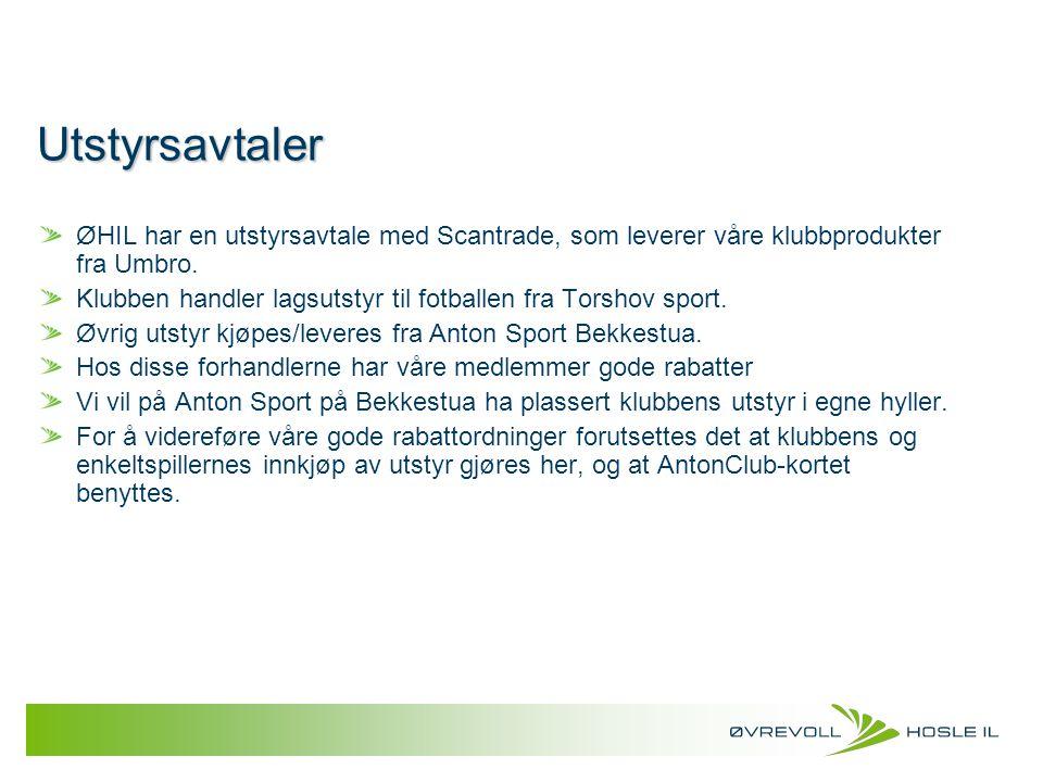 Utstyrsavtaler ØHIL har en utstyrsavtale med Scantrade, som leverer våre klubbprodukter fra Umbro. Klubben handler lagsutstyr til fotballen fra Torsho