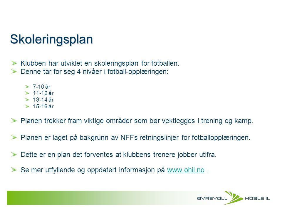 Skoleringsplan Klubben har utviklet en skoleringsplan for fotballen. Denne tar for seg 4 nivåer i fotball-opplæringen: 7-10 år 11-12 år 13-14 år 15-16
