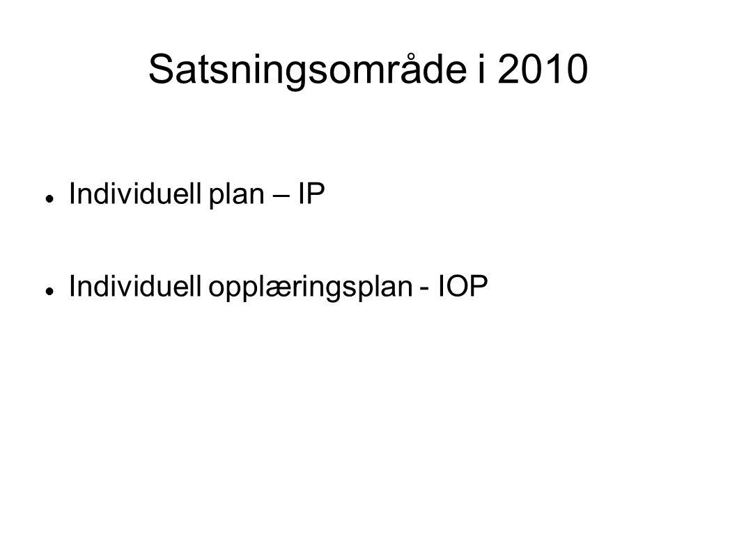 Satsningsområde i 2010  Individuell plan – IP  Individuell opplæringsplan - IOP
