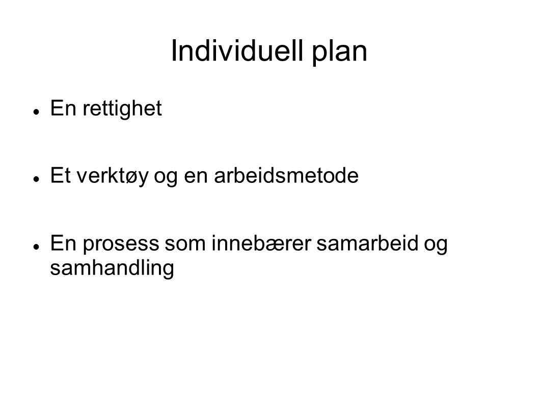 Individuell plan  En rettighet  Et verktøy og en arbeidsmetode  En prosess som innebærer samarbeid og samhandling
