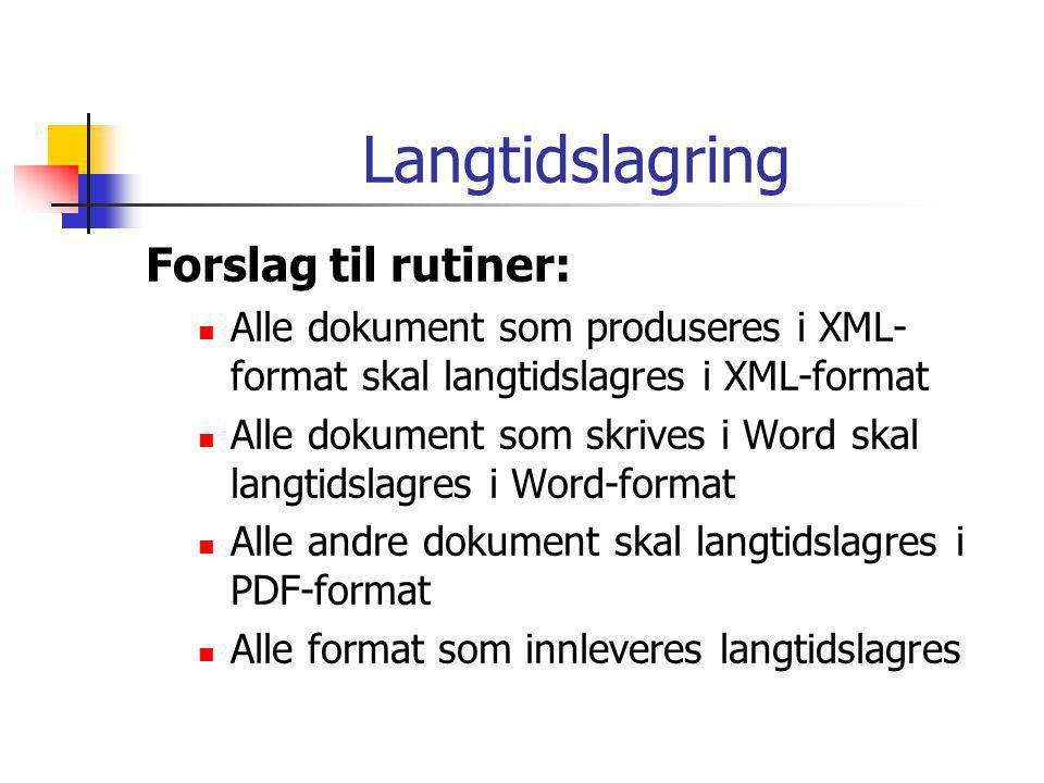 Langtidslagring Forslag til rutiner:  Alle dokument som produseres i XML- format skal langtidslagres i XML-format  Alle dokument som skrives i Word skal langtidslagres i Word-format  Alle andre dokument skal langtidslagres i PDF-format  Alle format som innleveres langtidslagres