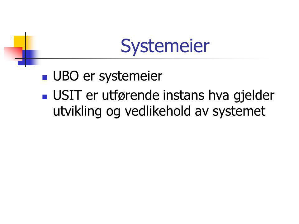 Systemeier  UBO er systemeier  USIT er utførende instans hva gjelder utvikling og vedlikehold av systemet