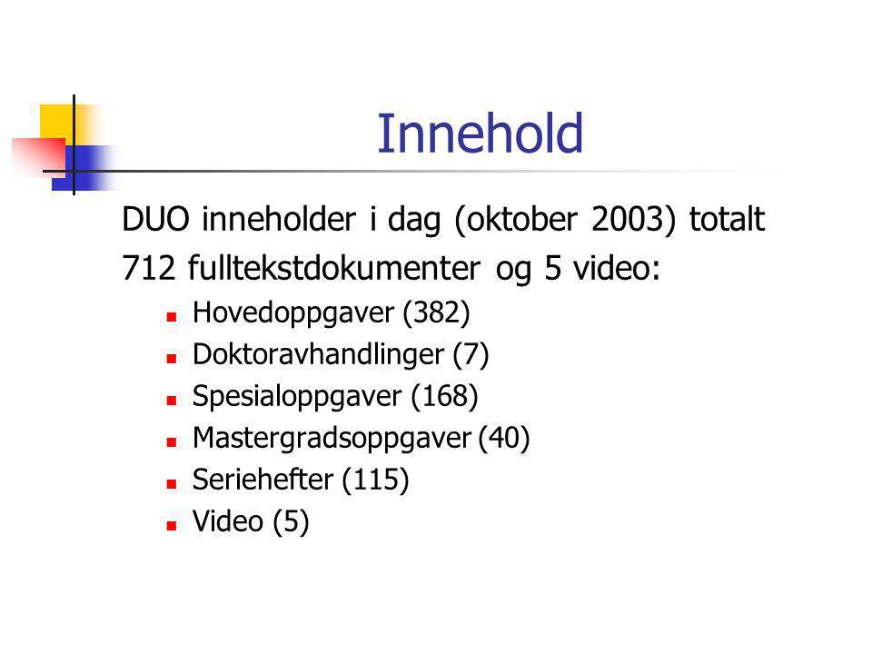 Innehold DUO inneholder i dag (oktober 2003) totalt 712 fulltekstdokumenter og 5 video:  Hovedoppgaver (382)  Doktoravhandlinger (7)  Spesialoppgaver (168)  Mastergradsoppgaver (40)  Seriehefter (115)  Video (5)