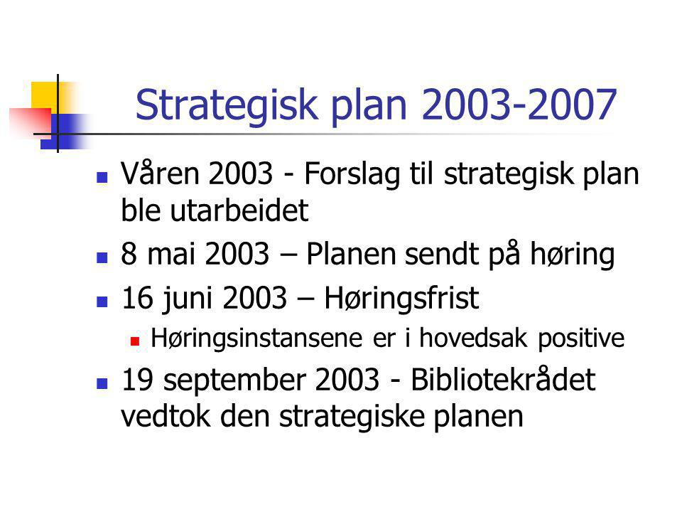 Strategisk plan 2003-2007  Våren 2003 - Forslag til strategisk plan ble utarbeidet  8 mai 2003 – Planen sendt på høring  16 juni 2003 – Høringsfrist  Høringsinstansene er i hovedsak positive  19 september 2003 - Bibliotekrådet vedtok den strategiske planen