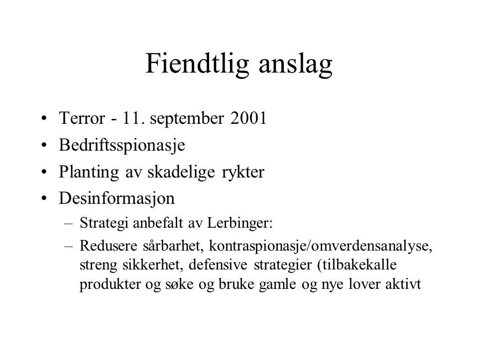 Fiendtlig anslag •Terror - 11. september 2001 •Bedriftsspionasje •Planting av skadelige rykter •Desinformasjon –Strategi anbefalt av Lerbinger: –Redus
