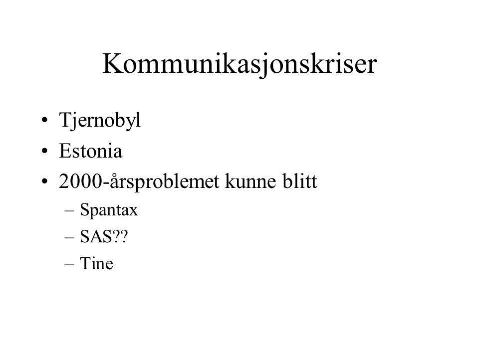 Kommunikasjonskriser •Tjernobyl •Estonia •2000-årsproblemet kunne blitt –Spantax –SAS?? –Tine