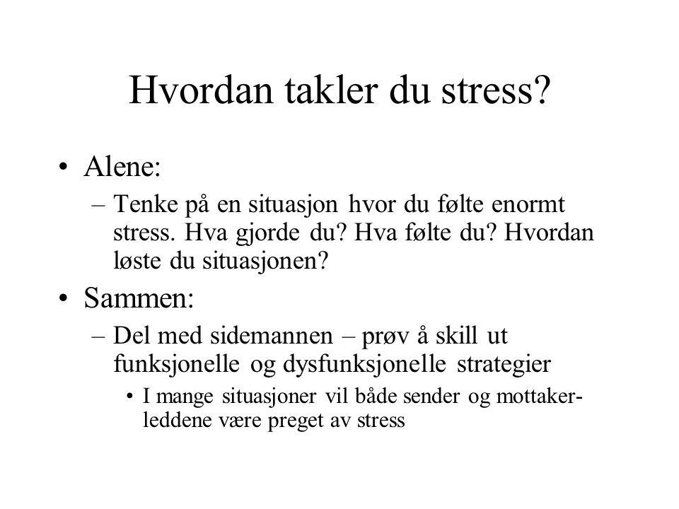 Hvordan takler du stress? •Alene: –Tenke på en situasjon hvor du følte enormt stress. Hva gjorde du? Hva følte du? Hvordan løste du situasjonen? •Samm