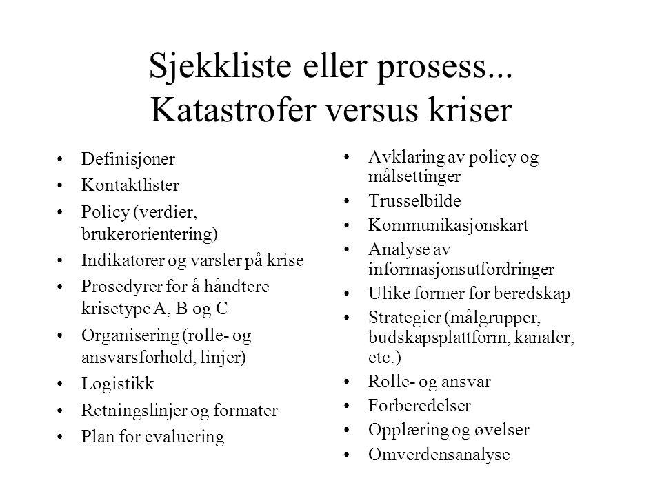 Sjekkliste eller prosess... Katastrofer versus kriser •Definisjoner •Kontaktlister •Policy (verdier, brukerorientering) •Indikatorer og varsler på kri