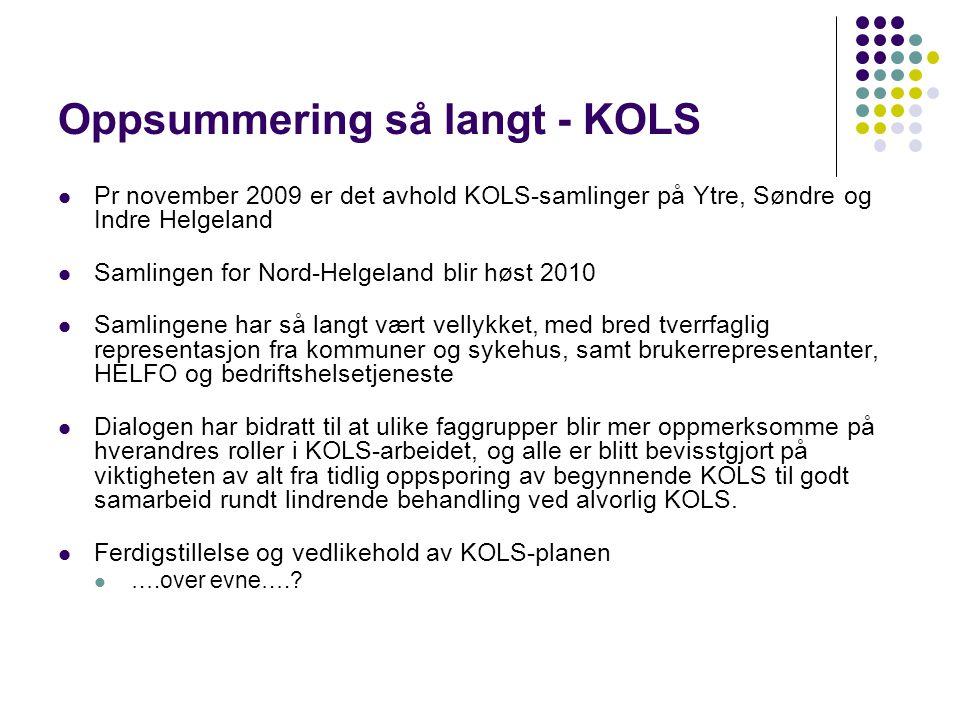 Oppsummering så langt - KOLS  Pr november 2009 er det avhold KOLS-samlinger på Ytre, Søndre og Indre Helgeland  Samlingen for Nord-Helgeland blir hø