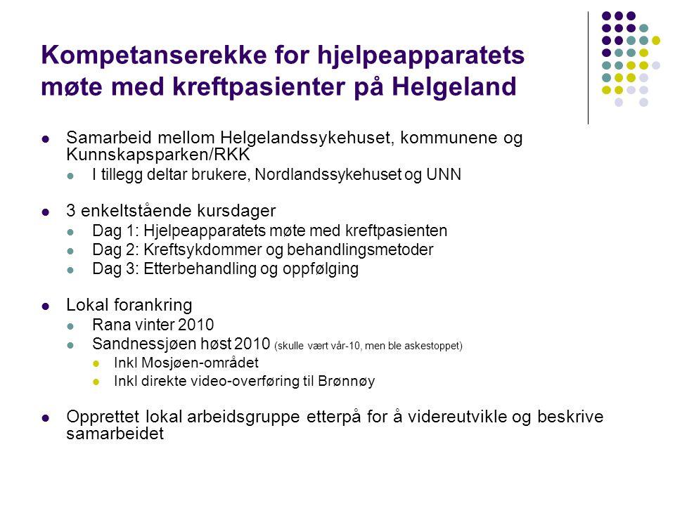 Kompetanserekke for hjelpeapparatets møte med kreftpasienter på Helgeland  Samarbeid mellom Helgelandssykehuset, kommunene og Kunnskapsparken/RKK  I