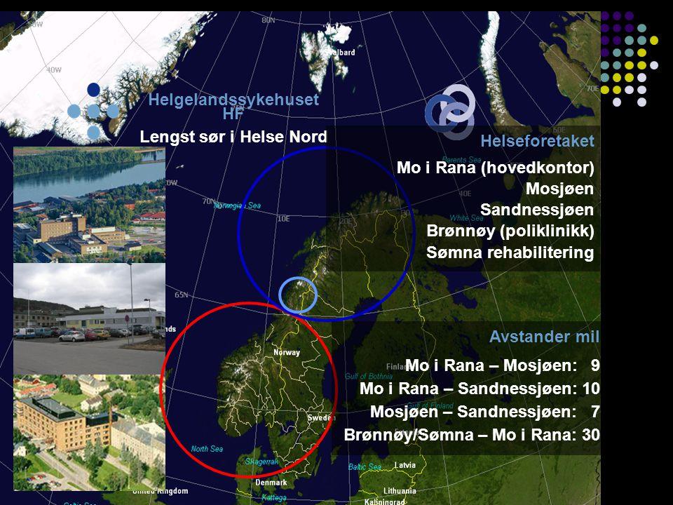 • • • • • • • Bodø Namsos Brønnøysund Sandnessjøen Mosjøen Mo i Rana Levanger + 237 km Befolkning (sykehusområde) 76 000 Mo i Rana: 25 190 (32 819) (Rana, Hemnes, Nesna, Rødøy, Lurøy innland) Mosjøen: 13 571 (16 593) (Vefsn, Grane, Hattfjelldal) Sandnessjøen: 7 225 (26 333) (Alstahaug, Leirfjord, Træna, Lurøy kyst, Dønna, Herøy, Vevelstad, Vega, Brønnøy, Sømna, (Bindal)) Kommuneoverleger 17 (kommuneoverlegeforum) Fastleger 84 PKO 1 i Rana, 1 i Mosjøen, 1 i Sandnessjøen, 1 i Brønnøy, 1 koordinator + +