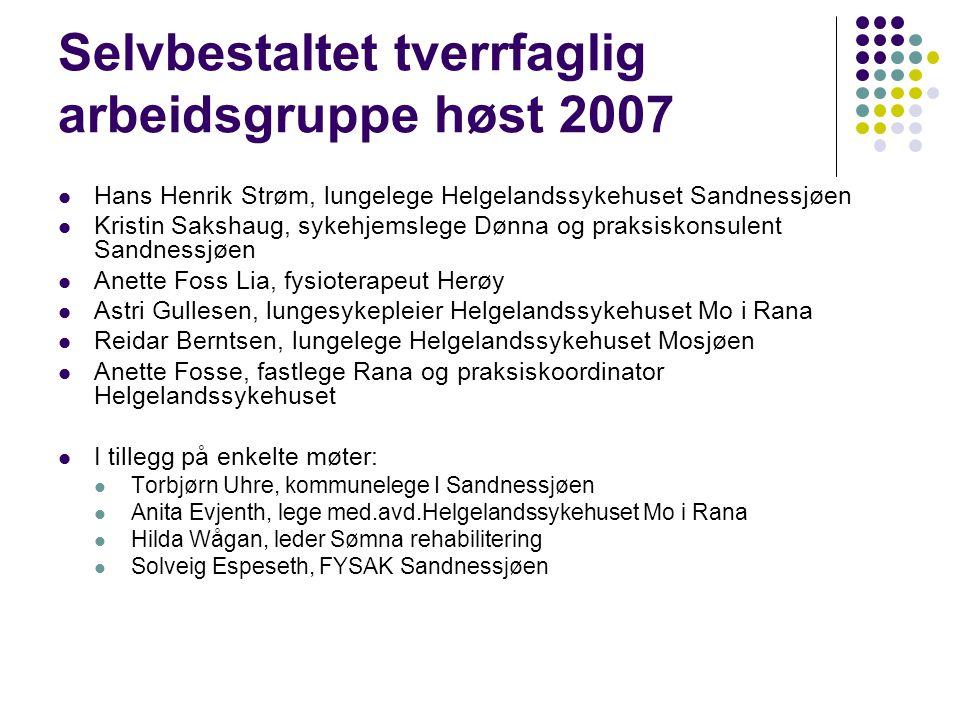 Arbeidet med KOLS-plan for Helgeland  Arbeidsgruppen utarbeidet et utkast til en KOLS-plan-skisse  Planen skal etter hvert beskrive  forebygging, oppsporing, utredning, diagnostisering og behandling  arbeidsdeling mellom faggrupper og nivåer  muligheter og tilbud lokalt i den enkelte kommune, interkommunalt og på hele Helgeland  Som ledd i kvalitetssikringen og utviklingen av KOLS-behandlingen på Helgeland holdes en tverrfaglig samling i hvert av de 4 tyngdepunktene (Sandnessjøen, Mosjøen, Brønnøysund, Mo i Rana)  formål å øke kunnskapen om KOLS lokalt  forankre og videreutvikle en sammenhengende KOLS-plan for Helgeland  Når alle samlingene er gjennomført blir KOLS-planen bearbeidet og planlegges lagt ut på hjemmesiden til Helgelandssykehuset og til hver enkelt kommune.