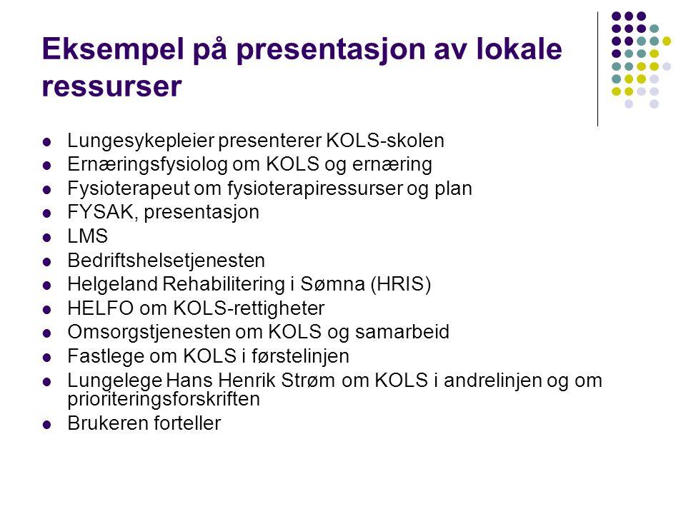 Eksempel på presentasjon av lokale ressurser  Lungesykepleier presenterer KOLS-skolen  Ernæringsfysiolog om KOLS og ernæring  Fysioterapeut om fysi