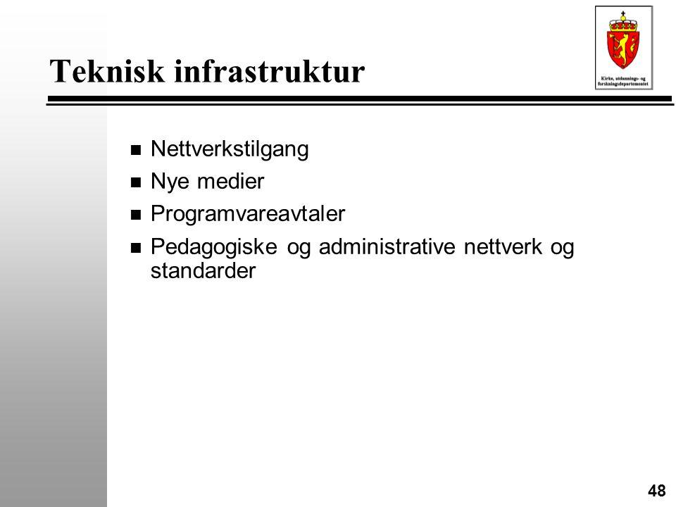48 Teknisk infrastruktur n Nettverkstilgang n Nye medier n Programvareavtaler n Pedagogiske og administrative nettverk og standarder