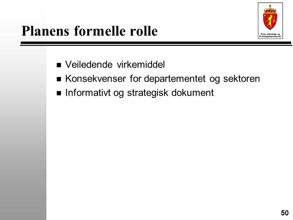 50 Planens formelle rolle n Veiledende virkemiddel n Konsekvenser for departementet og sektoren n Informativt og strategisk dokument