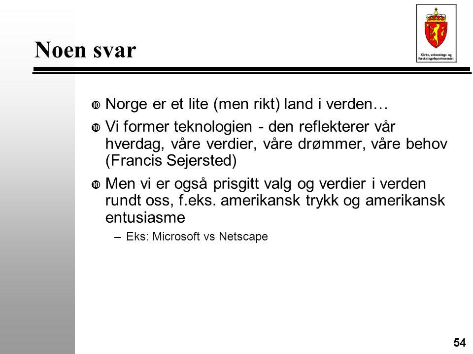 54 Noen svar • Norge er et lite (men rikt) land i verden… • Vi former teknologien - den reflekterer vår hverdag, våre verdier, våre drømmer, våre behov (Francis Sejersted) • Men vi er også prisgitt valg og verdier i verden rundt oss, f.eks.