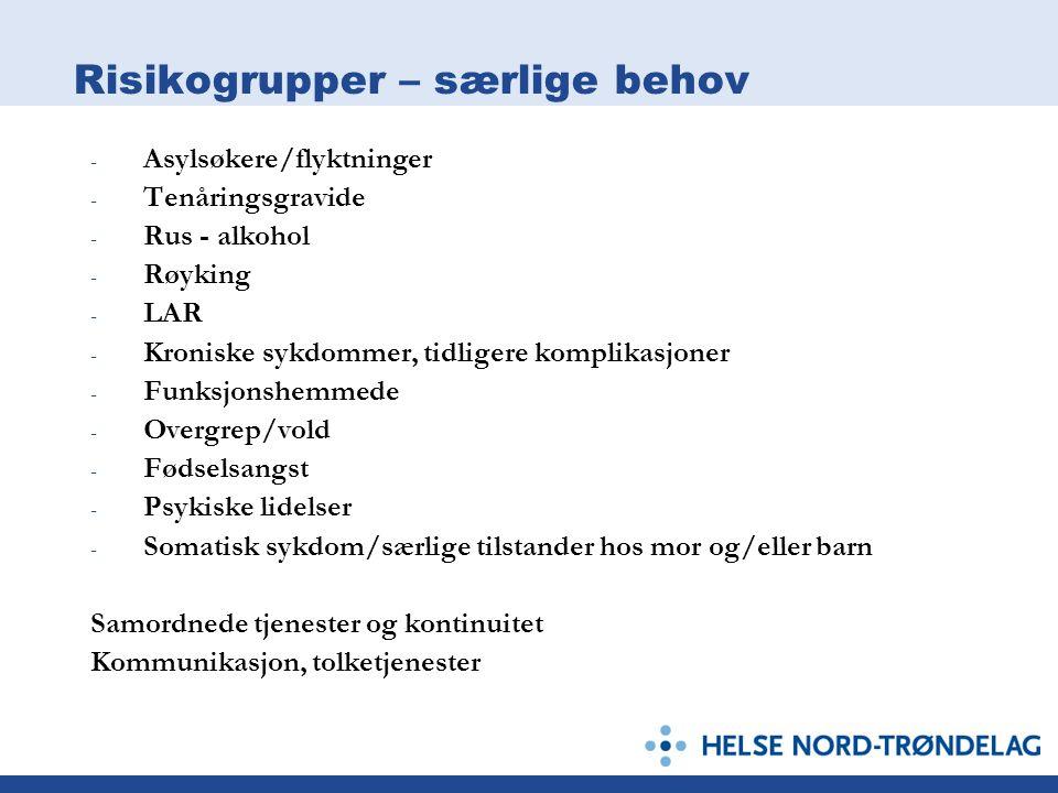 Risikogrupper – særlige behov - Asylsøkere/flyktninger - Tenåringsgravide - Rus - alkohol - Røyking - LAR - Kroniske sykdommer, tidligere komplikasjon