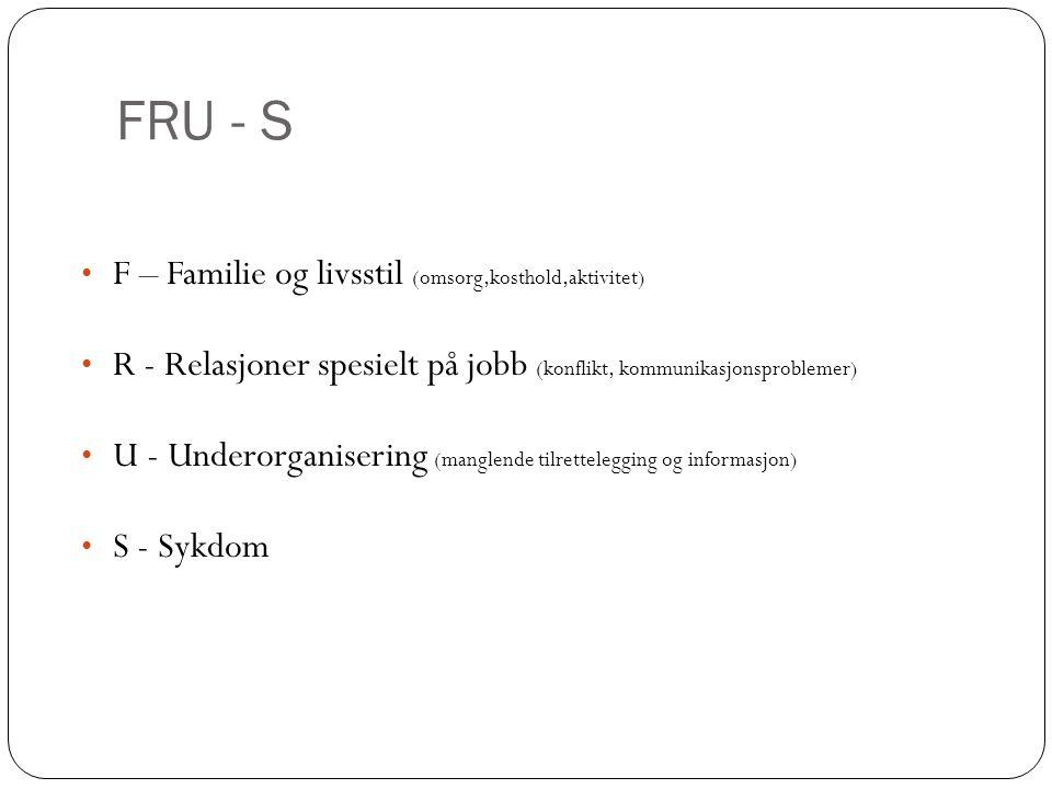 FRU - S • F – Familie og livsstil (omsorg,kosthold,aktivitet) • R - Relasjoner spesielt på jobb (konflikt, kommunikasjonsproblemer) • U - Underorganisering (manglende tilrettelegging og informasjon) • S - Sykdom