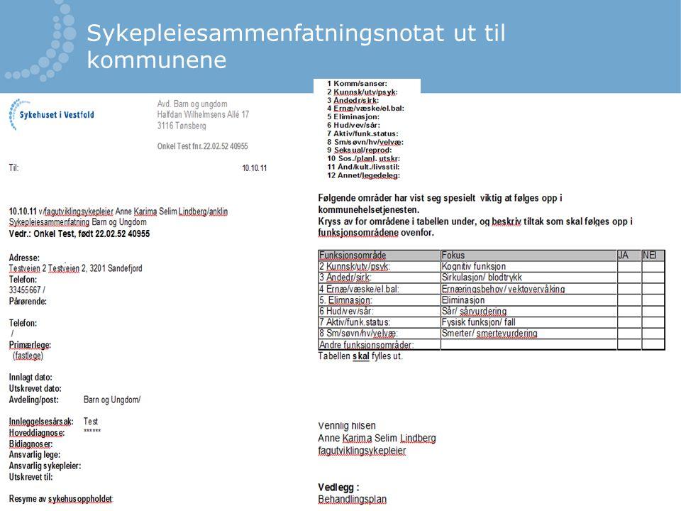 Sykepleiesammenfatningsnotat ut til kommunene