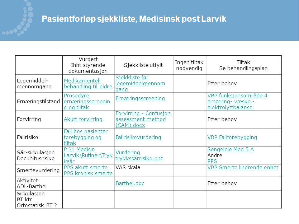Vurdert Ihht styrende dokumentasjon Sjekkliste utfylt Ingen tiltak nødvendig Tiltak Se behandlingsplan Legemiddel- gjennomgang Medikamentell behandlin