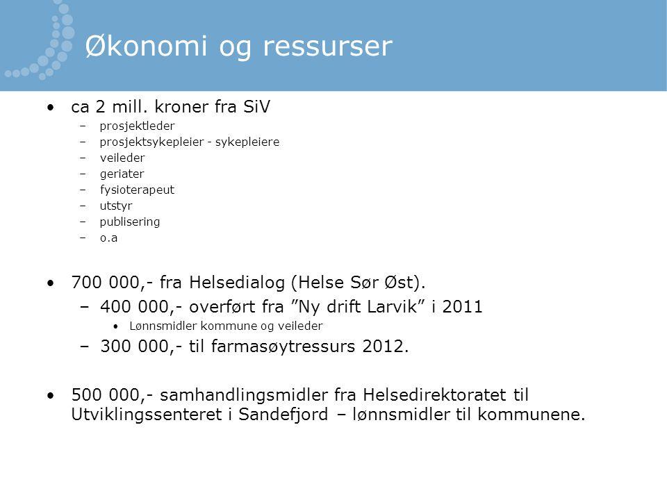 Økonomi og ressurser •ca 2 mill. kroner fra SiV –prosjektleder –prosjektsykepleier - sykepleiere –veileder –geriater –fysioterapeut –utstyr –publiseri