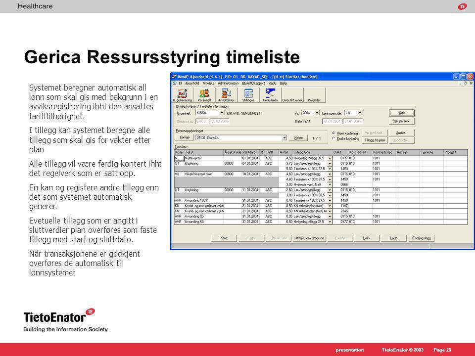 TietoEnator © 2003presentationPage 25 Gerica Ressursstyring timeliste Systemet beregner automatisk all lønn som skal gis med bakgrunn i en avviksregistrering ihht den ansattes tarifftilhørighet.