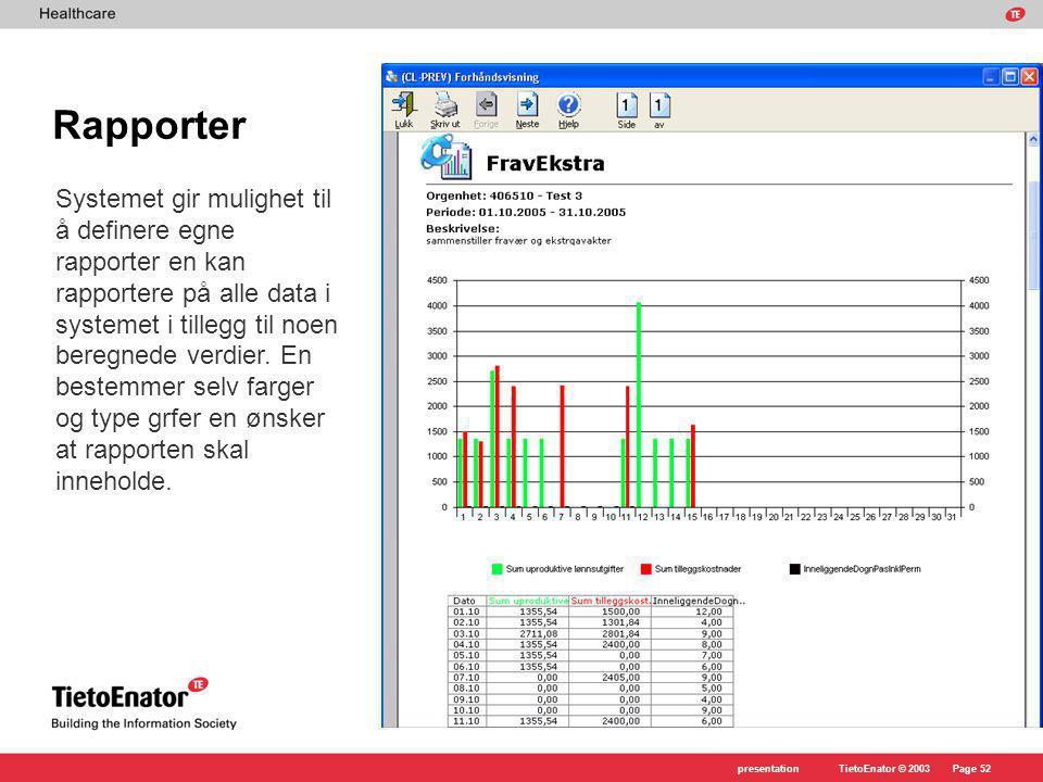 TietoEnator © 2003presentationPage 52 Rapporter Systemet gir mulighet til å definere egne rapporter en kan rapportere på alle data i systemet i tillegg til noen beregnede verdier.
