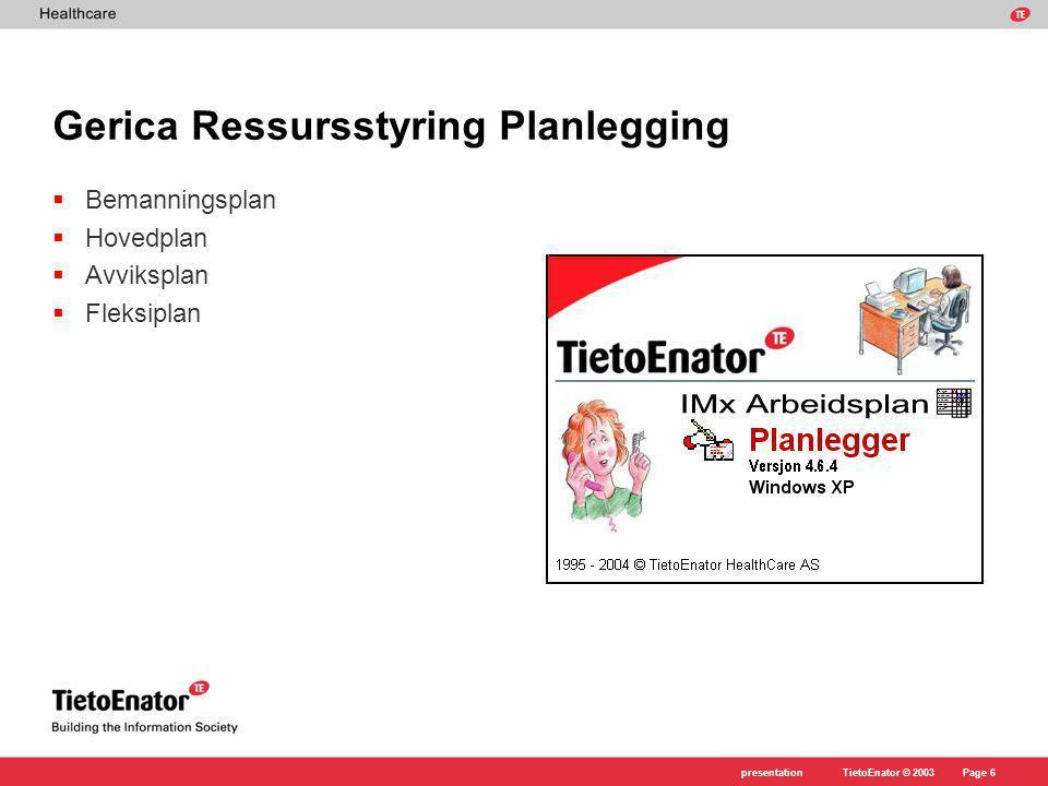 TietoEnator © 2003presentationPage 17 Gerica Ressursstyring arbeidsplan Arbeidsplanen er et av hovedbildene i systemet.
