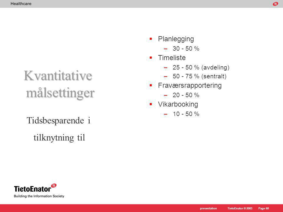 TietoEnator © 2003presentationPage 60  Planlegging –30 - 50 %  Timeliste –25 - 50 % (avdeling) –50 - 75 % (sentralt)  Fraværsrapportering –20 - 50 %  Vikarbooking –10 - 50 % Kvantitativemålsettinger Tidsbesparende i tilknytning til
