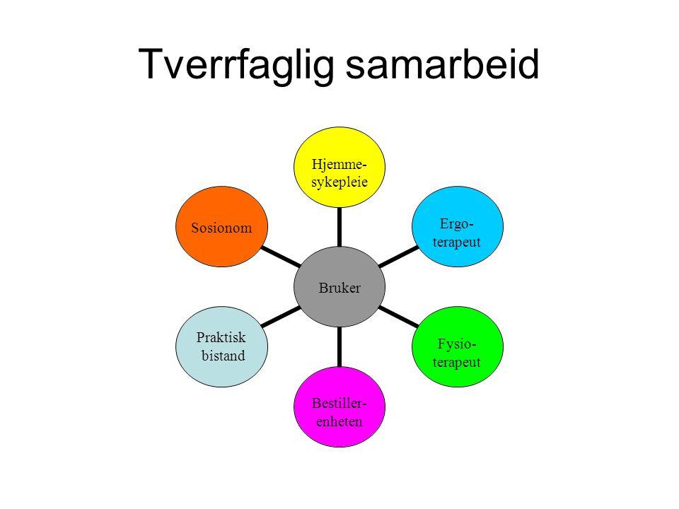 Tverrfaglig samarbeid Bruker Hjemme- sykepleie Ergo- terapeut Fysio-terapeut Bestiller- enheten Praktisk bistandSosionom