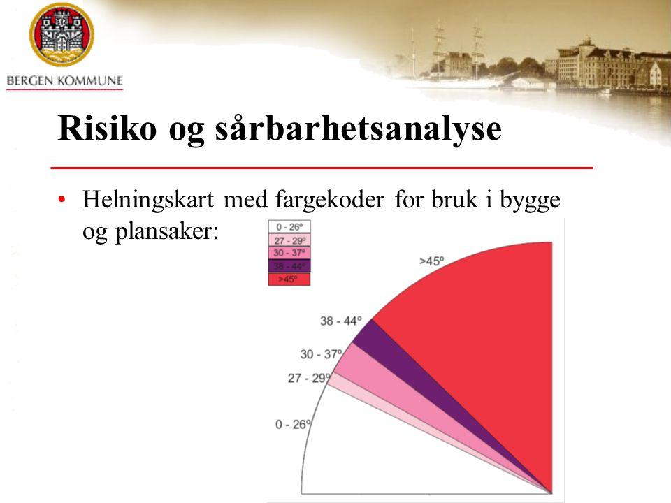© Bergen kommune Risiko og sårbarhetsanalyse •Helningskart med fargekoder for bruk i bygge og plansaker: