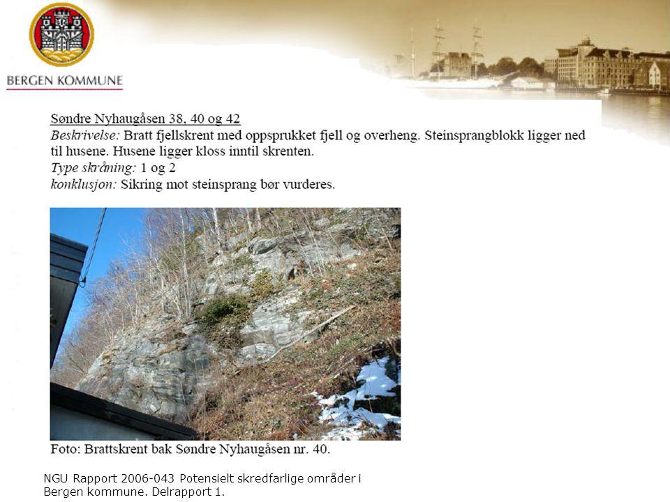 NGU Rapport 2006-043 Potensielt skredfarlige områder i Bergen kommune. Delrapport 1.