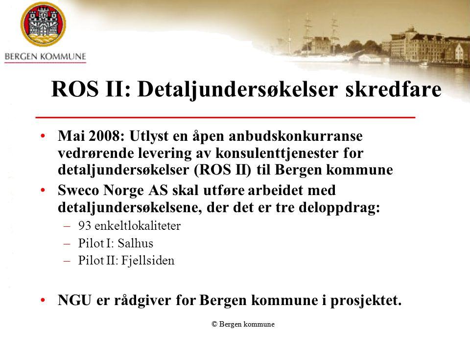 © Bergen kommune ROS II: Detaljundersøkelser skredfare •Mai 2008: Utlyst en åpen anbudskonkurranse vedrørende levering av konsulenttjenester for detal