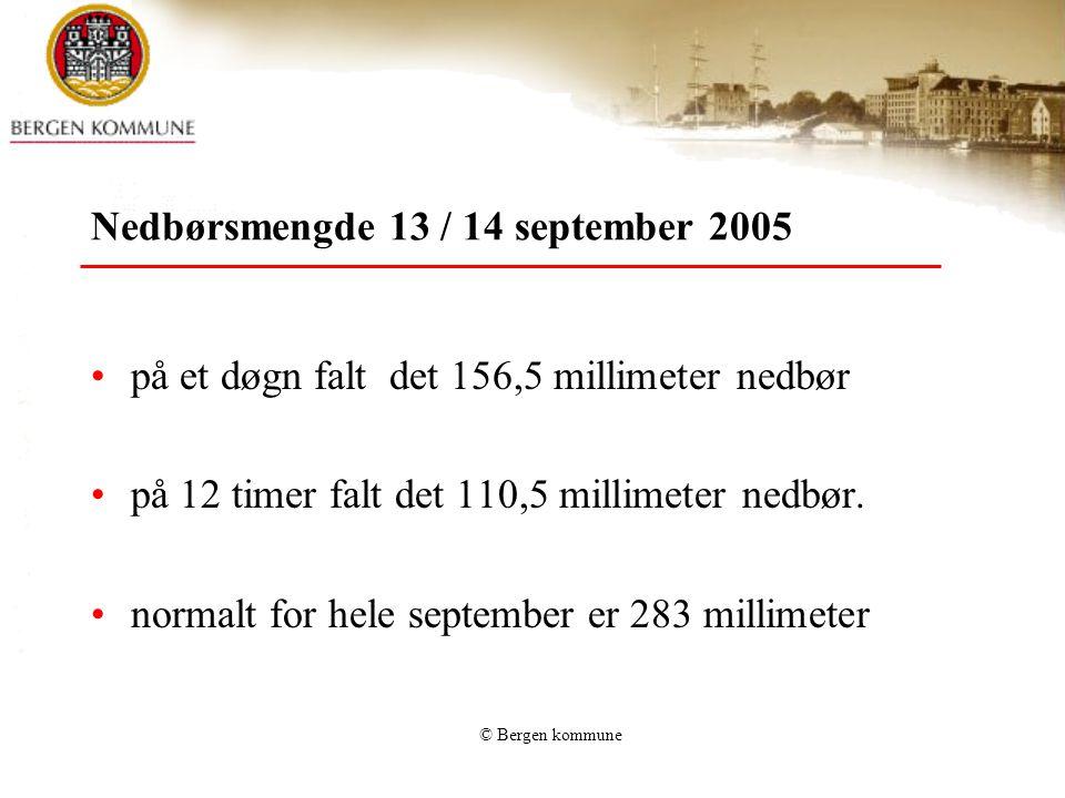Nedbørsmengde 13 / 14 september 2005 •på et døgn falt det 156,5 millimeter nedbør •på 12 timer falt det 110,5 millimeter nedbør. •normalt for hele sep