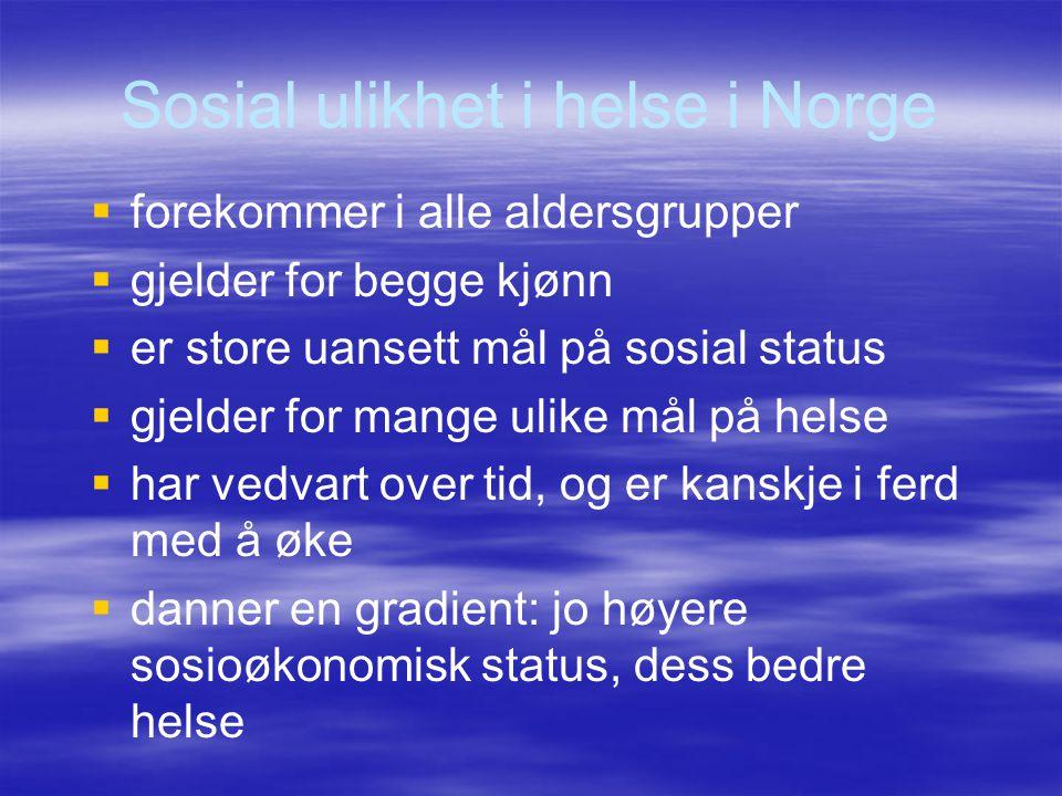 Sosial ulikhet i helse i Norge   forekommer i alle aldersgrupper   gjelder for begge kjønn   er store uansett mål på sosial status   gjelder f
